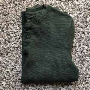 Faded Glory Hunter Green Long Sleeve Henley